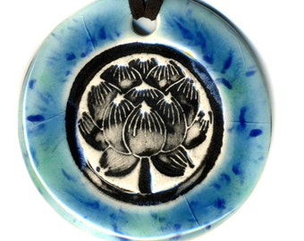 Lotus Flower Ceramic Necklace in Blue