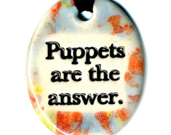 Puppets Are The Answer Ceramic Necklace in Multicolor Speckle