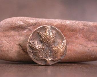 Rustic Shank Button Goldie Bronze Metal Clay Medium Maple Leaf Divine Spark Designs SRA