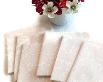 Ivory and White Eco Friendly Cotton Cocktail Napkins Appetizer Napkins Beverage Napkins, Hand stitched Bridal Shower Napkins- set of 6