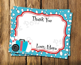 Printable Bowling Theme Flat Thank You Note Cards - Instant Download