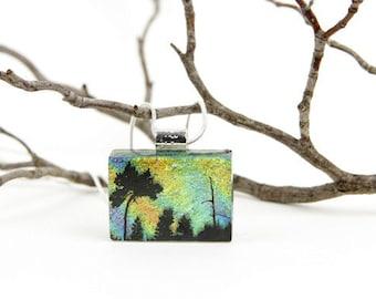 Tree of Life- Dichroic Jewelry- Glass Pendant - Tree Necklace - Tree of Life - Dichroic Fused Glass Jewelry - Pendant - Dichroic Glass