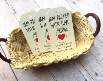 Custom Wedding Tags, Jam Packed With Love, Custom Tag, Wedding Favor, Gift Tags, Personalized Tags, Bridal Favor, Party Favor, Kraft Tag