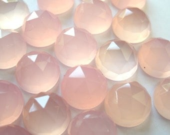 Gemstone Cabochons Chalcedony Pink Rose Cut 10mm FOR TWO