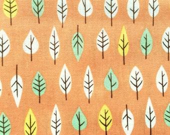 Japanese Cotton Fabric - Leaf Fabric - Japanese Fabric - Orange Fabric - 1/2 Yard - Leaves Fabric - Colorful Fabric F135