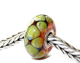 Luccicare Lampwork Bead - Snake II -  Lined with Sterling Silver
