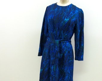 "Suzy PERETTE wool Dress, Fully Lined Haute Couture Modern Cocktail Artistic pattern Size Small Medium, 34"" -36"" Chest"