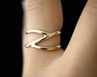 Gold Branch ring - gold stacking ring, 14k gold filled wrap ring, gold wrapped ring, gold stackable ring