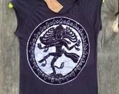 Shiva Nataraja Organic cropped T shirt batik vintage black - Yoga Clothes -