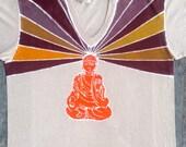 Buddha batik eco friendly tan organic t shirt yoga v neck men hand drawn hand painted hand dyed -yoga clothes- size XS, S, M, L, XL,XXL