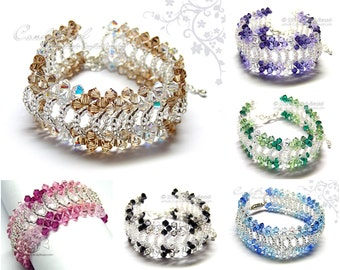 Silver Swarovski Bracelet, Splendid Swarovski Crystal Cuff Bracelet by CandyBead