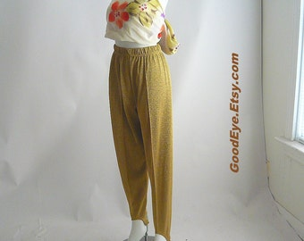 Iconic 80s Stirrup Stretch Pants Metallic Gold Lycra Elastic Lame GLITTERS LIKE GOLD  waist 24 to 34 inches