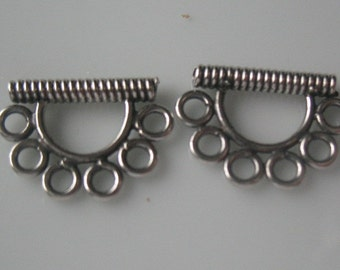 7mm Sterling silver bead findings- two sterling silver bead findings-925 sterling silver