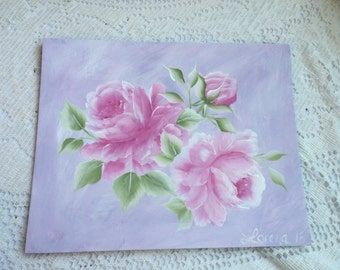 Hand Painted ART Lavender Background Pink Roses CAnvas Board Painting 8x10 Shabby Chic ECS cst schteam SVFTeam