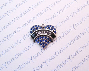 Custom Personalized Dallas Charm or Any American City State or Favorite Vacation Spot Crystal Antique Silver Heart Pendant