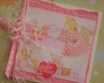 New Baby Card - Baby Girl - flowers, ribbons, and bows, pretty pink