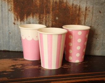 10 Pink Drinking Cups -- scallops -- dots -- stripes