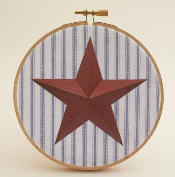Items similar to forth of july decorative arts hoop for Country star decorations home