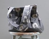 Grey Dandelion Tote - - 3 Pockets - Key Fob - - 3 pockets