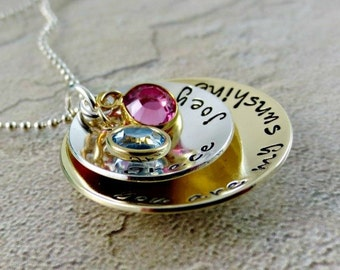 You Are My Sunshine Necklace - Personalized Jewelry - Layered Hand Stamped Necklace - Mother's Necklace - Name Birthstone Necklace