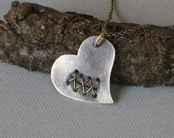Stitched Broken Heart Necklace Recycled Sterling Silver and 14k Gold Organic Necklace