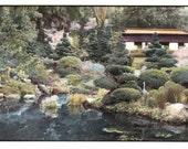 vintage photo Japanese Tea Garden San Mateo California 1990 Hand Colored Tinted Photo