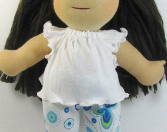 14 in, 15 in Waldorf butterfly doll leggings and white top, waldorf doll clothes, cotton knit doll pants and top
