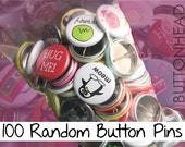 "100 Random Buttons Pins Mix – 1"" Mini Bulk Resale Wholesale Loose Lot"