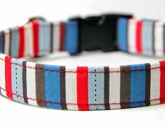 Striped Dog Collar, Boy dog Collar, Little Boy Blue