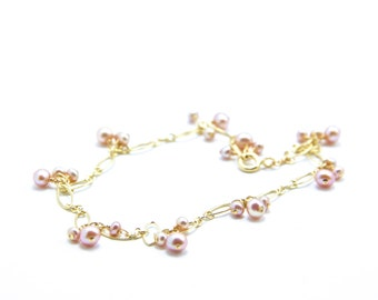 Lillian - Vintage Rose Freshwater Pearls and Gold Filled Bracelet
