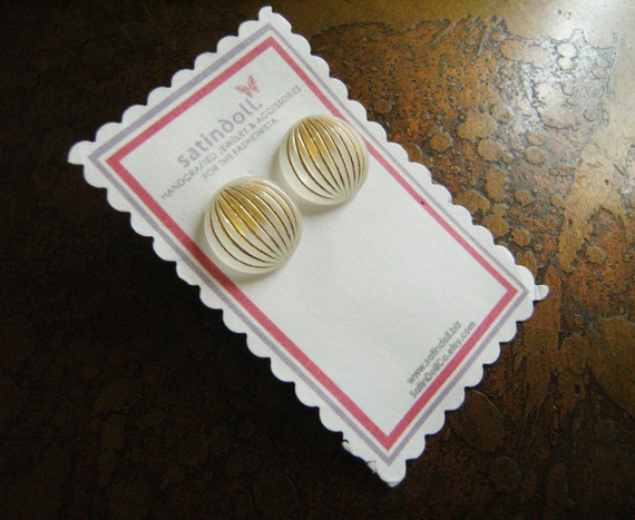 Crystal Stripe Vintage Lucite Gold Plated Stud earrings