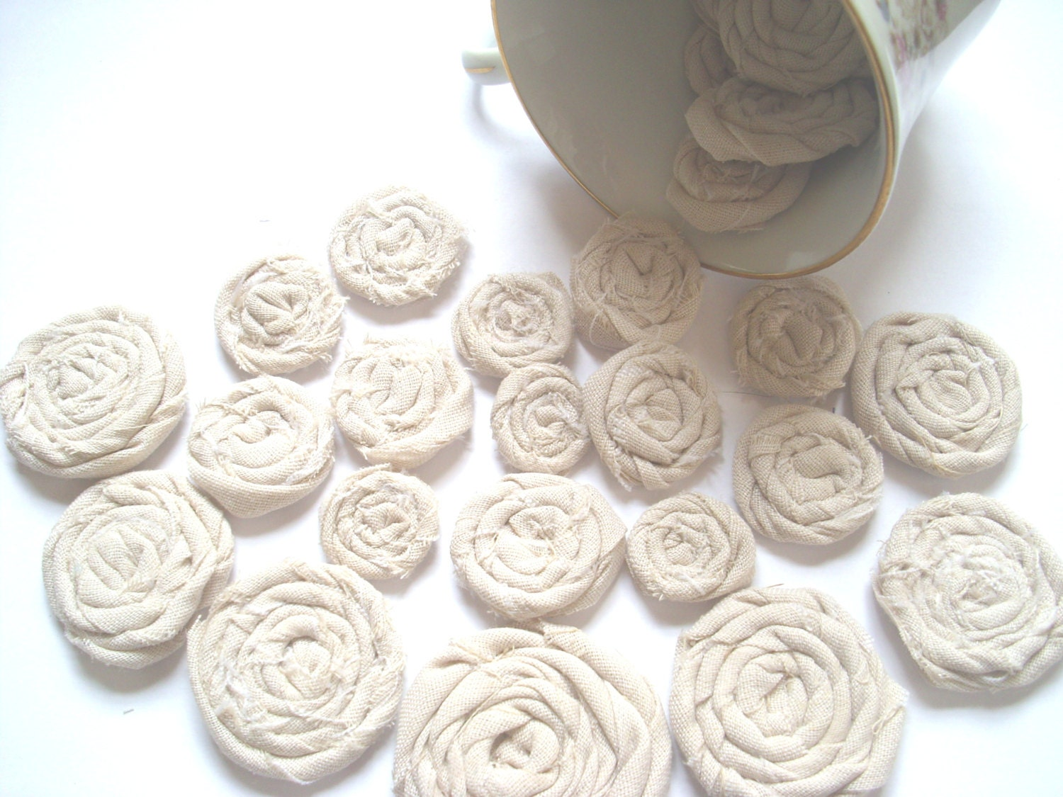 25 shabby chic rolled fabric flowers wholesale weddings
