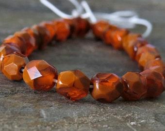 Pumpkin Rounds Czech Glass Bead 6mm : 25 pc Strand Orange Brown 6mm Beads