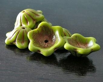 Chartreuse Copper Czech Glass Bead 12mm Cup Flower :  6 pc Chartreuse Bellflower