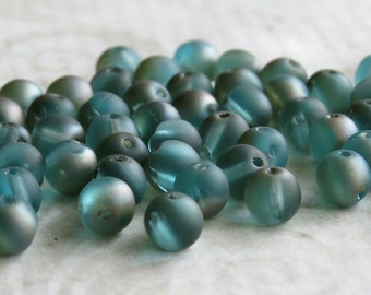 Sale 25% Off Aqua Celsian Matte Rounduo Czech Glass Two Hole Round 5mm Bead : 50 pc Round Duo 2 Hole Bead
