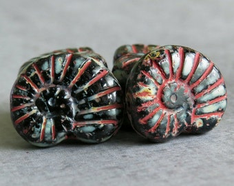 Carved Shell Fossil Black Picasso Czech Glass 16mm Bead : 6 Nautilus Jet Shell Bead