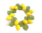 Lemon Fruit Beads w Leaf Czech Glass Great for Charms Jewelry Making