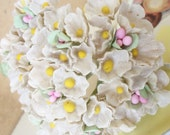 Vintage Millinery / Forget Me Nots / Aged White / One Small Bouquet / Bright Yellow Floral Centers