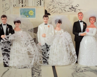 Vintage / Bride and Groom Wedding Cake Toppers / Three / Variety / DIY / Bridal Shower Cake Decorations / Retro Charm / Dessert Bar