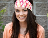 Wide Colorful Headbands for Women, Stretchy, Funky Ikat Print