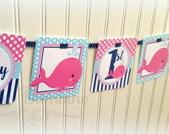Pink Whale Happy Birthday Banner / Hot Pink, Navy Blue and Turquoise / Personalized with Name and Age - 0029