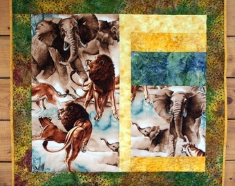 Wildlife Quilted Wall Hanging, Elephants, Lions, African Safari