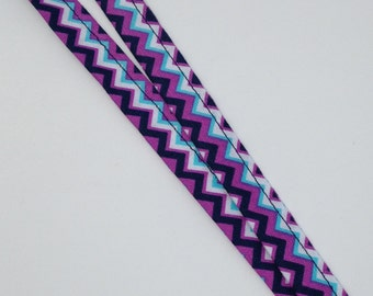 Purple and Blue Zigzag Lanyard