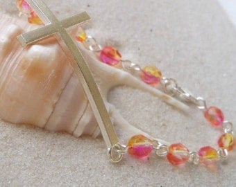 Women's Bracelet - Sideways Cross Bracelet - Bead Bracelet - Cross Connector Charm Bracelet - Yellow, Orange, and Bright Pink Glass Beads