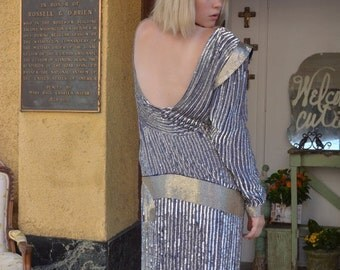 1980s blue and silver sequin gown 80s does the 20s size medium Vintage backless beaded dress