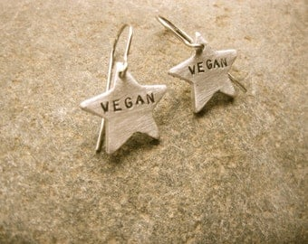 Vegan Earrings-Star Charms-Vegan Jewelry-Gift-Birthday-Anniversary-Wedding-Personalized-Eco Friendly