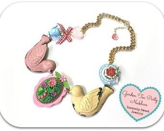 Garden Tea Party Necklace Marie Antoinette Alice in Wonderland Teapot Cake Birds
