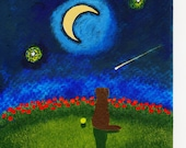 Chocolate Lab Dog Original folk Art Painting by Todd Young or BEST OFFER Moon & Stars