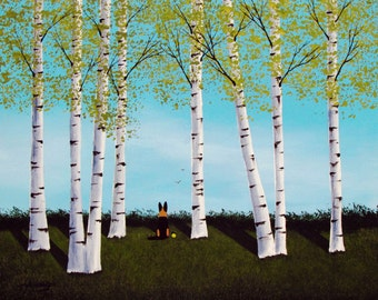 German Shepherd Dog LARGE art Print of Todd Young painting BIRCH FOREST