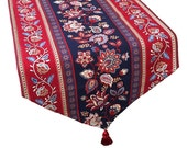 Red, White and Blue Table Runner, Red, White and Blue Floral Runner, Long Patriotic Table Runner